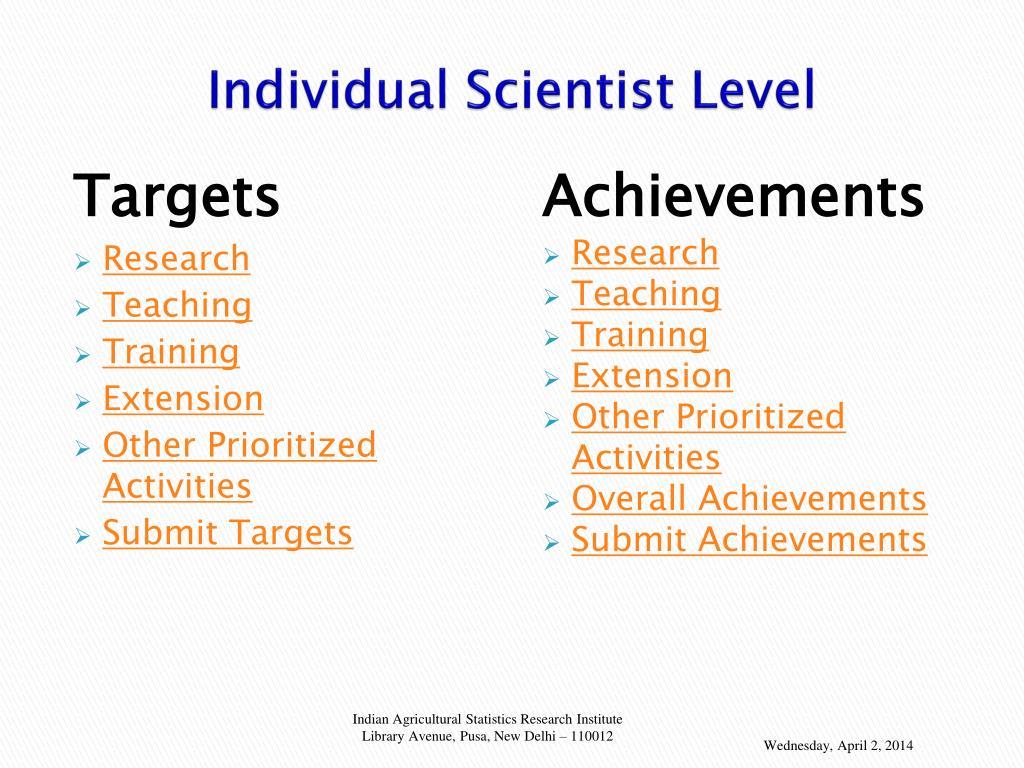 Individual Scientist Level