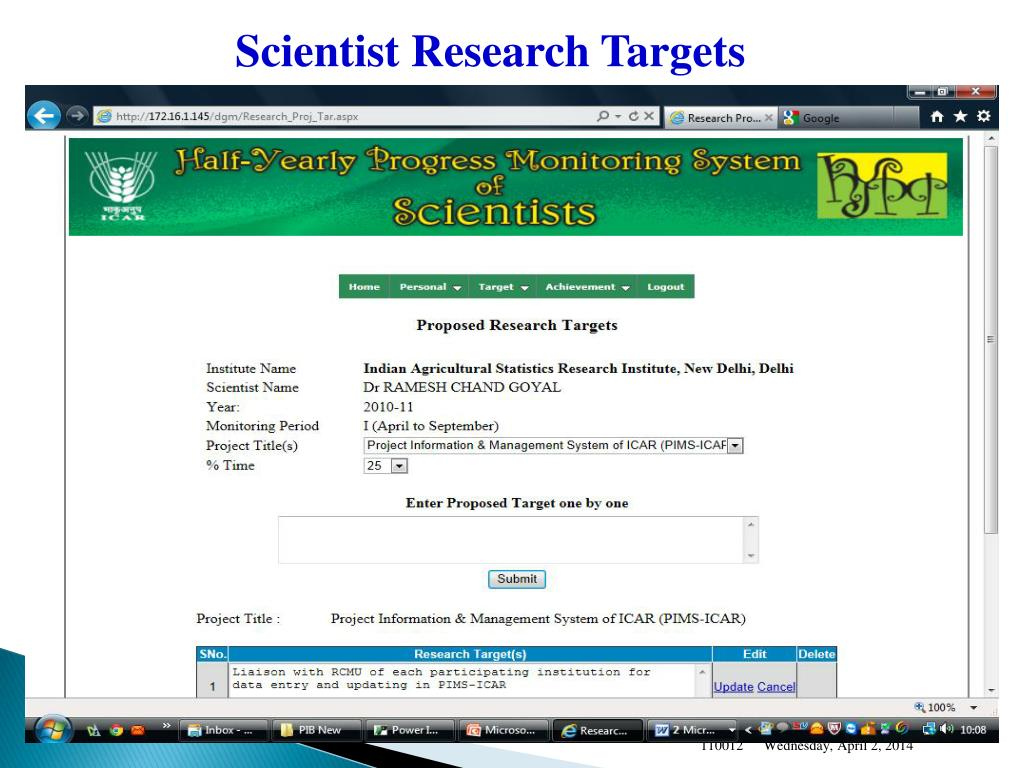 Scientist Research Targets