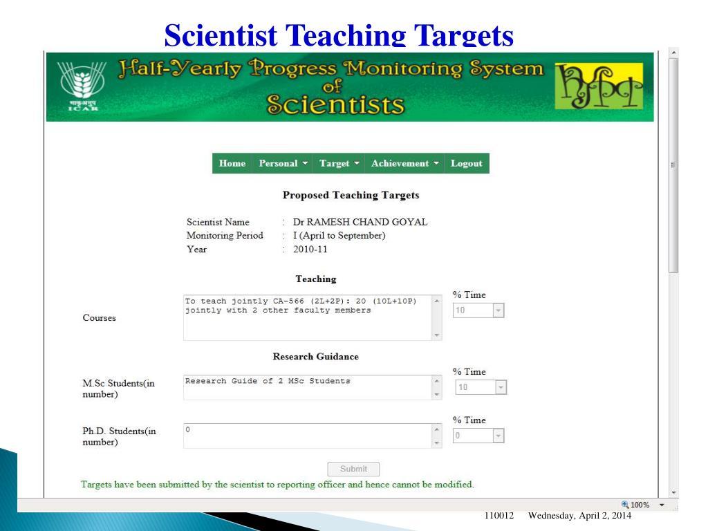 Scientist Teaching Targets