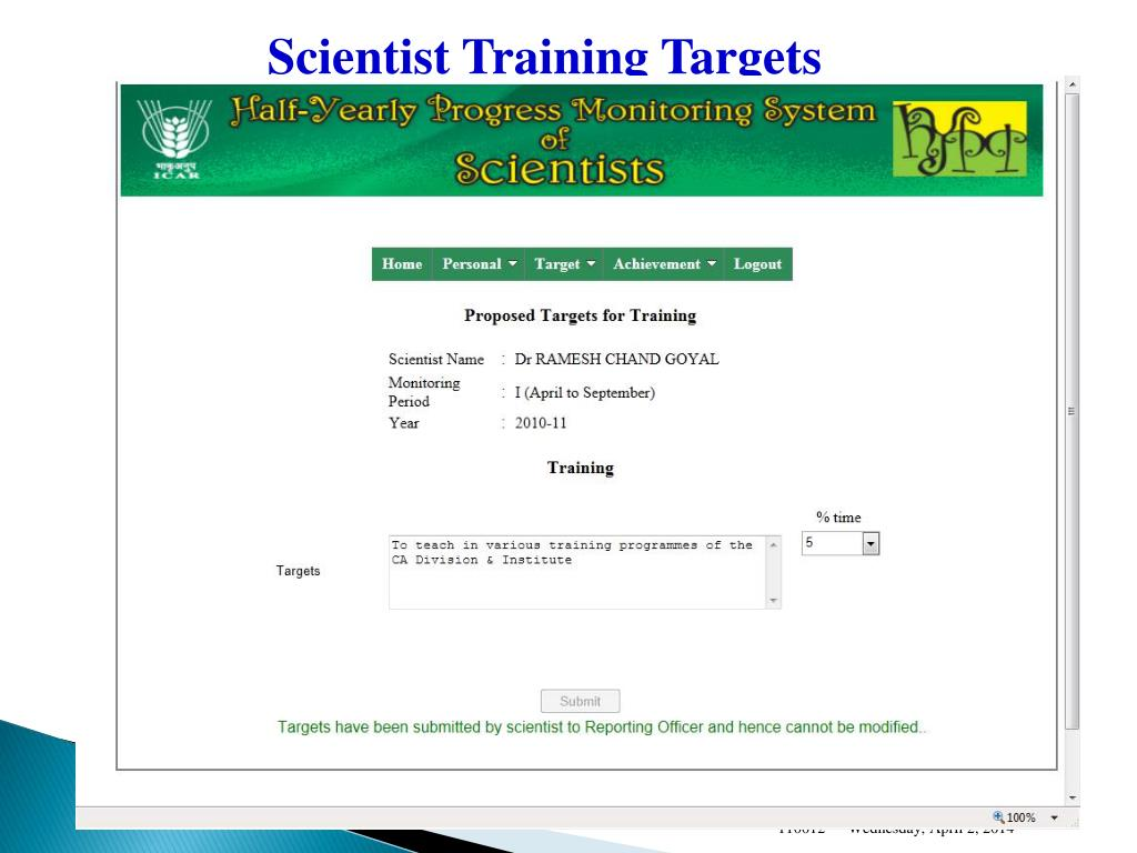 Scientist Training Targets