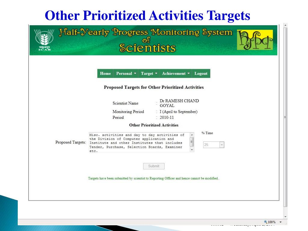 Other Prioritized Activities Targets