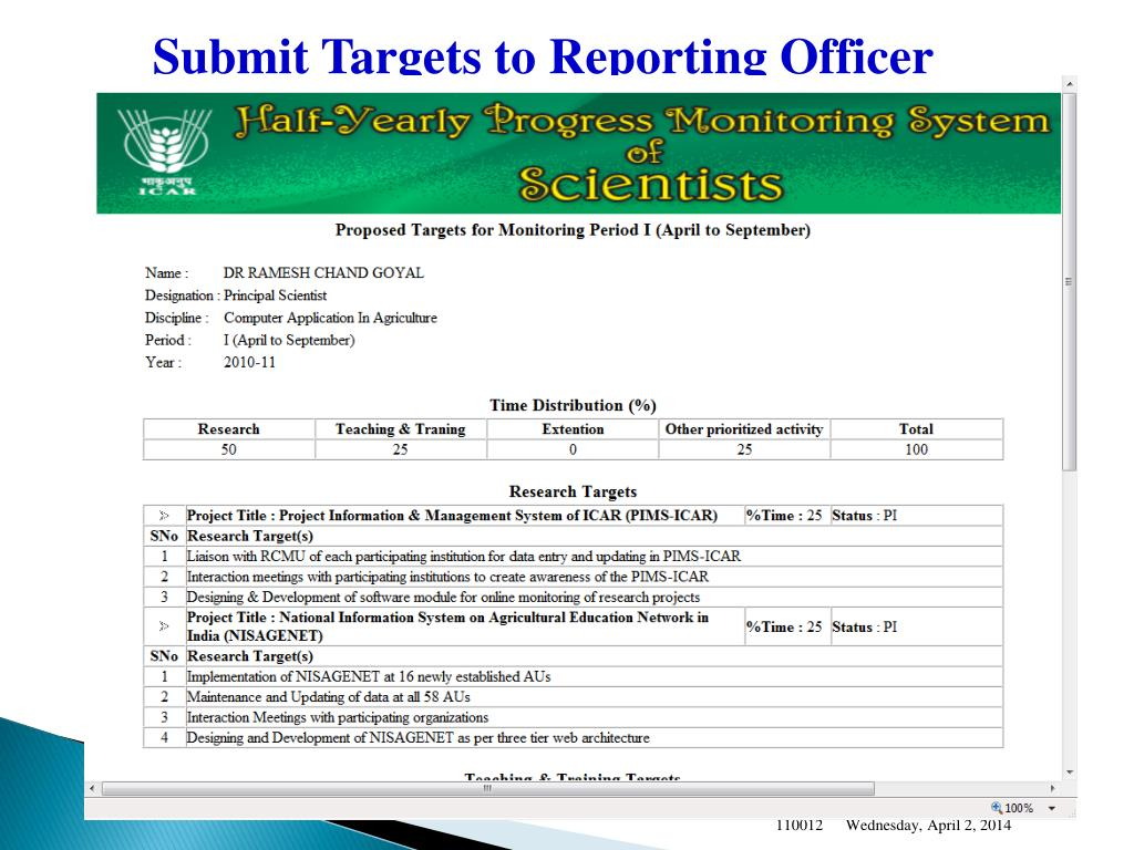 Submit Targets to Reporting Officer