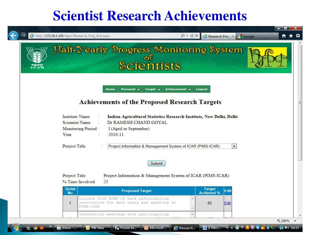 Scientist Research Achievements