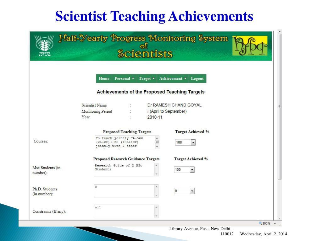 Scientist Teaching Achievements