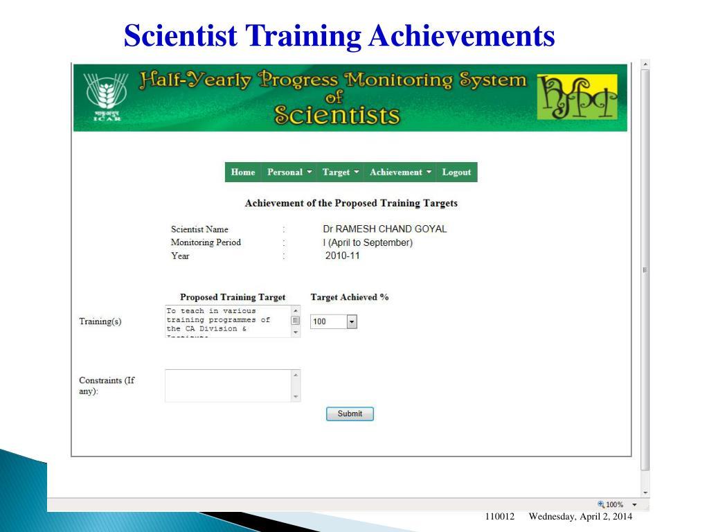 Scientist Training Achievements
