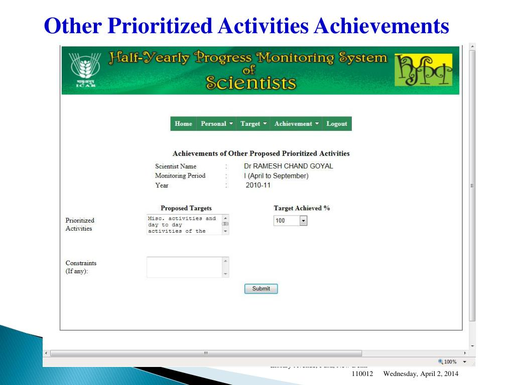 Other Prioritized Activities Achievements