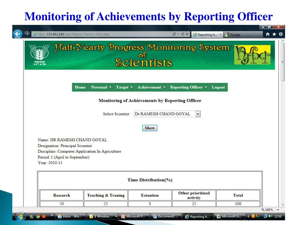 Monitoring of Achievements by Reporting Officer