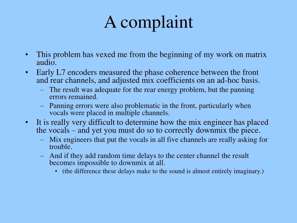 A complaint
