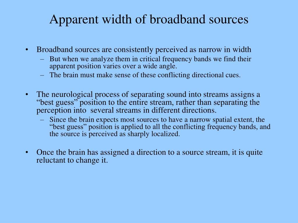 Apparent width of broadband sources