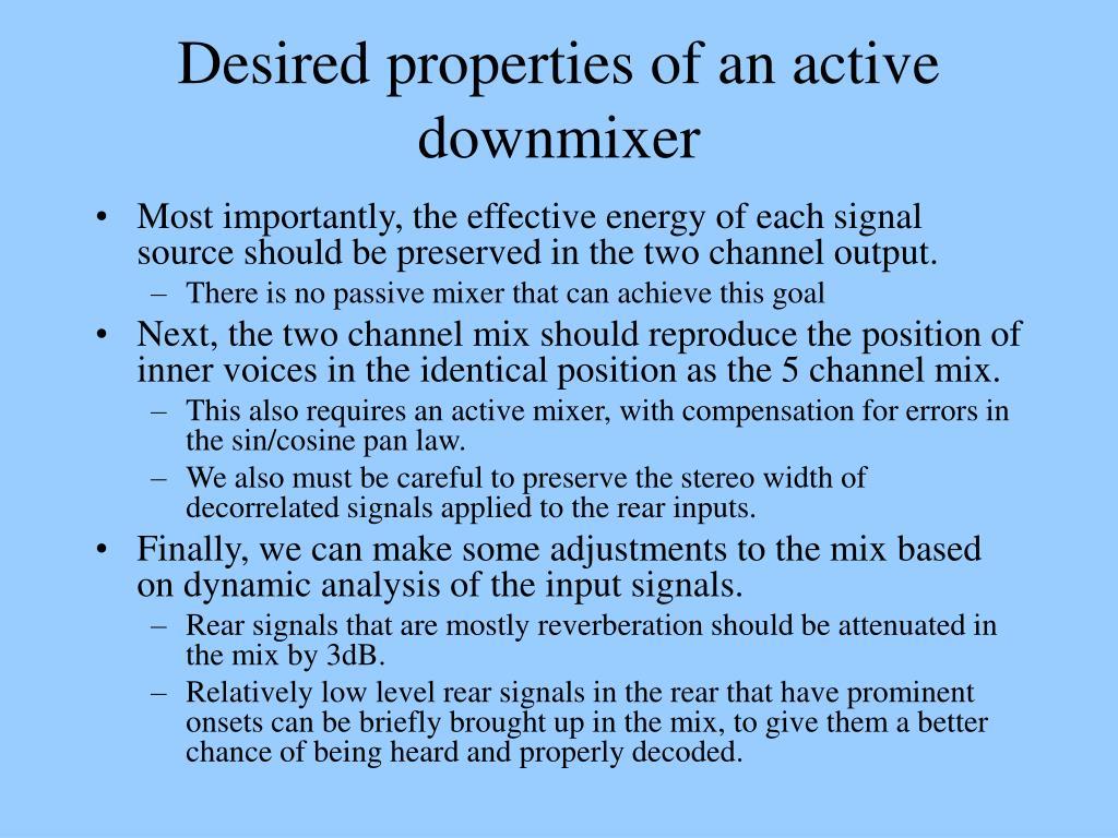 Desired properties of an active downmixer