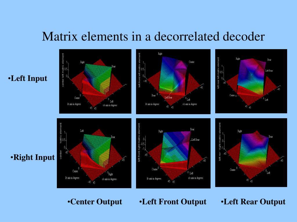 Matrix elements in a decorrelated decoder