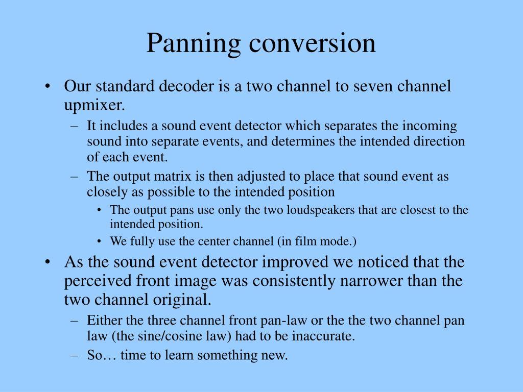 Panning conversion