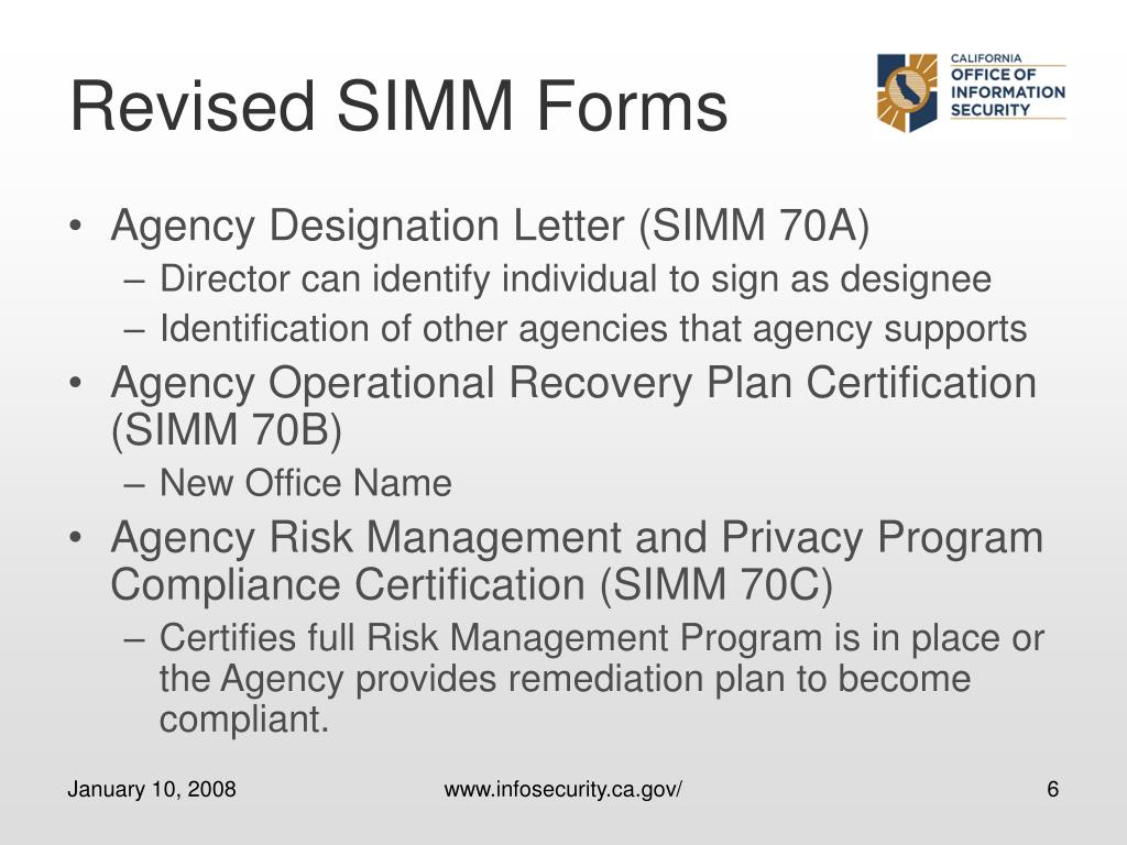Revised SIMM Forms