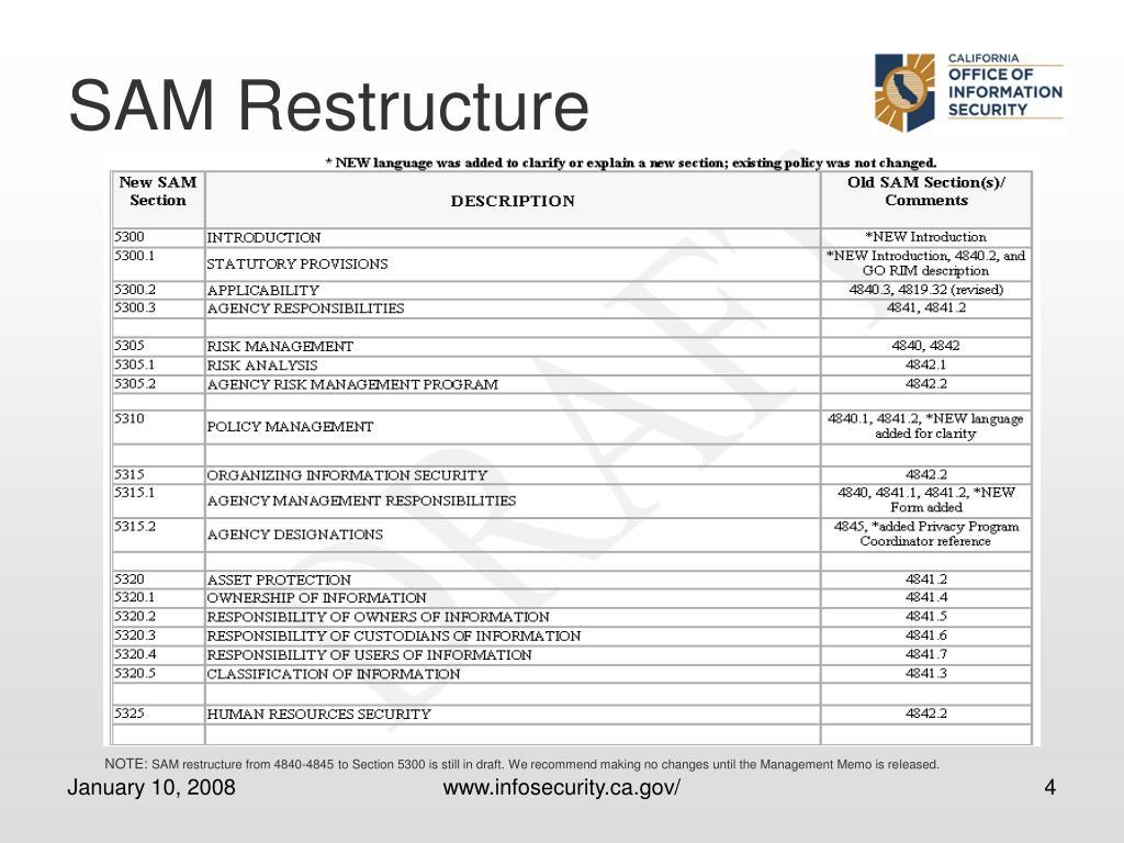 SAM Restructure