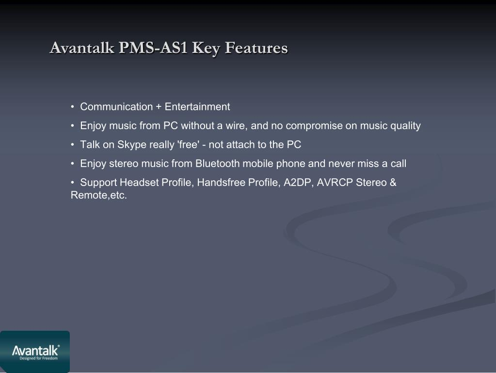 Avantalk PMS-AS1 Key Features