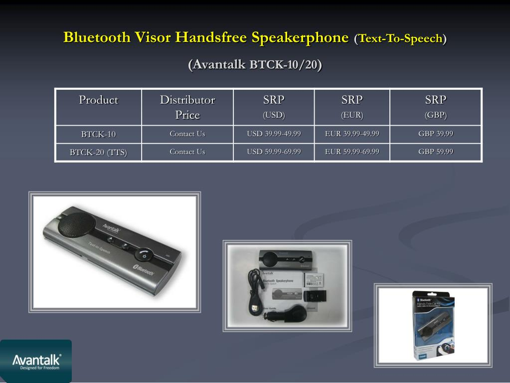 Bluetooth Visor Handsfree Speakerphone