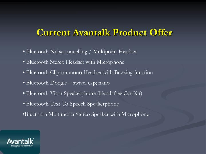 Current Avantalk Product Offer