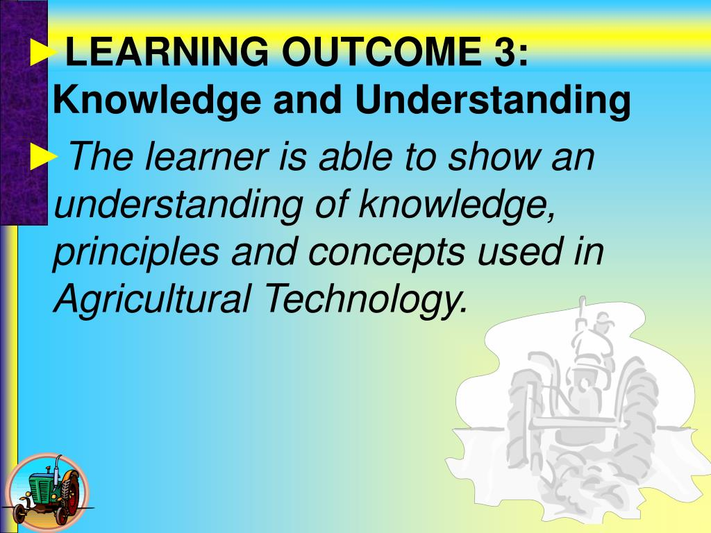 LEARNING OUTCOME 3: Knowledge and Understanding