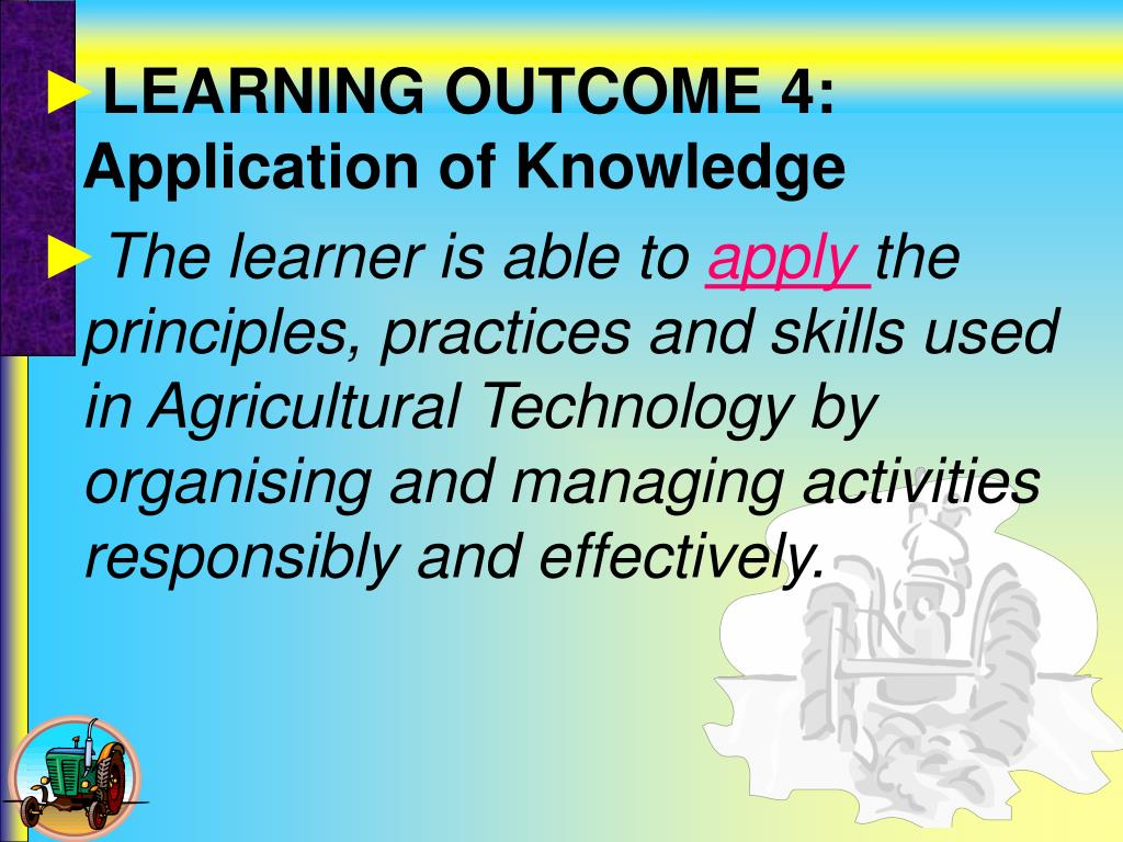 LEARNING OUTCOME 4: Application of Knowledge