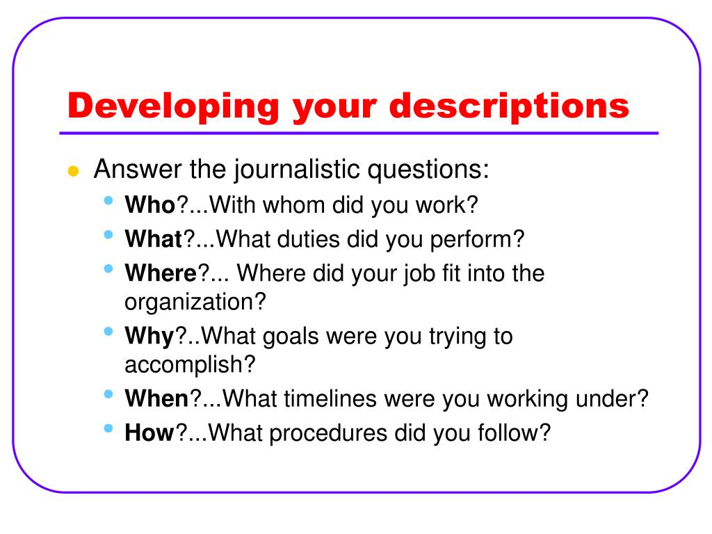 Developing your descriptions
