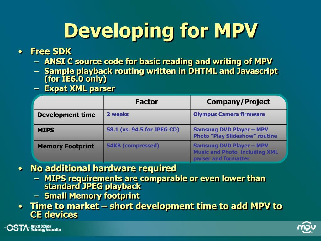 Developing for MPV