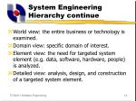 system engineering hierarchy continue