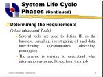 system life cycle phases continued