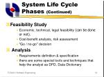 system life cycle phases continued10
