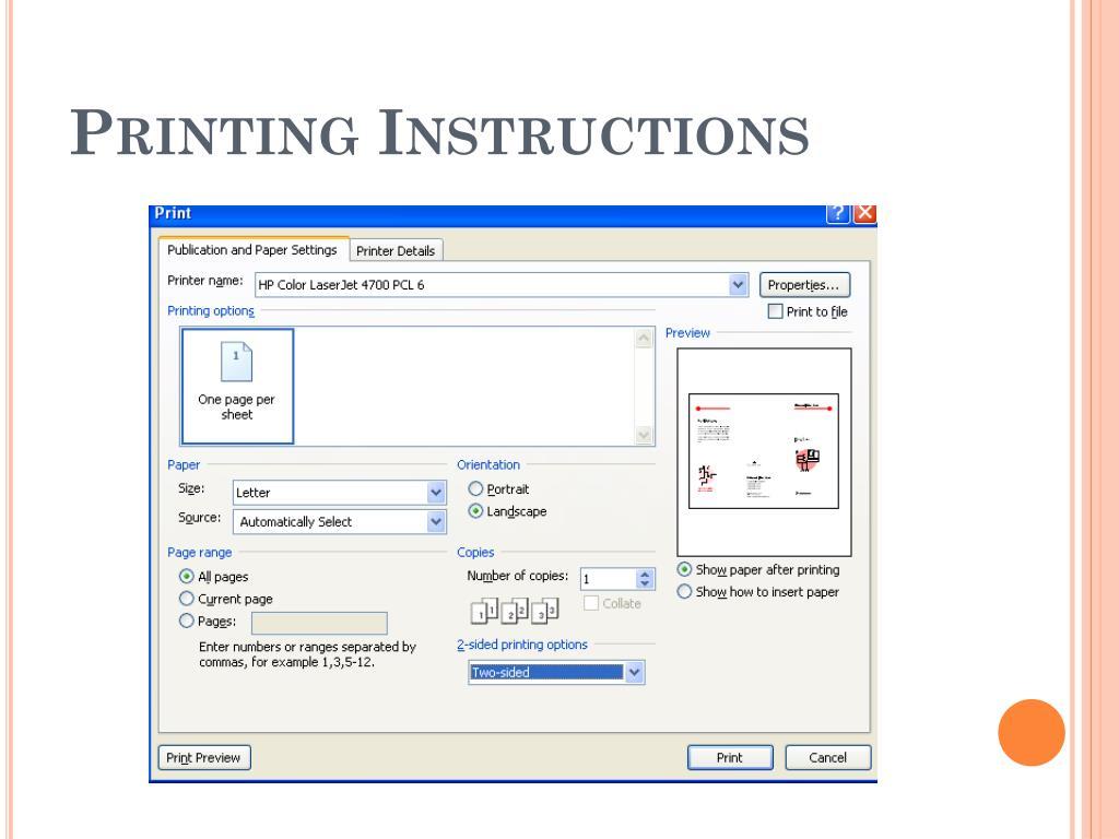 Printing Instructions