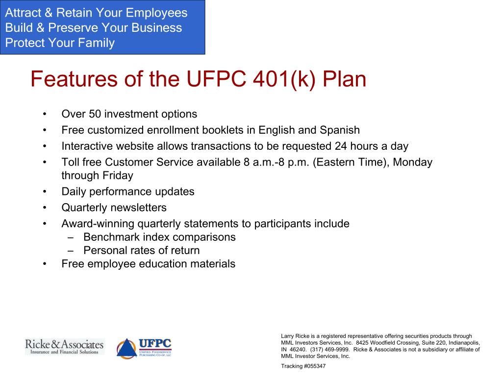 Features of the UFPC 401(k) Plan