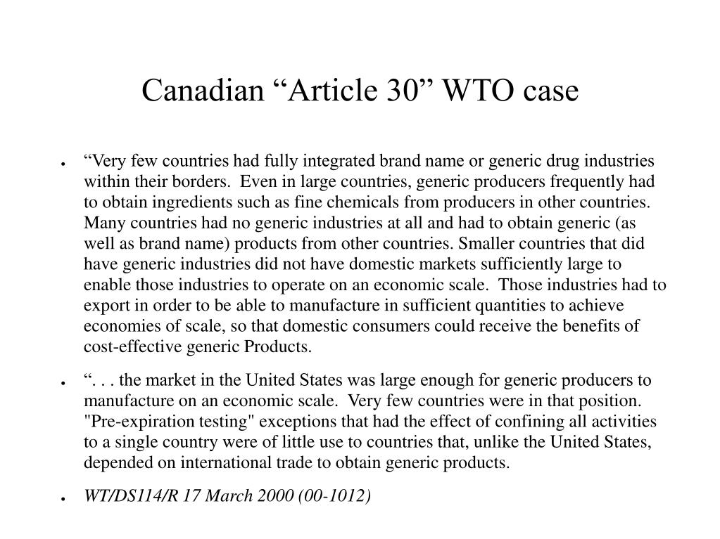 "Canadian ""Article 30"" WTO case"
