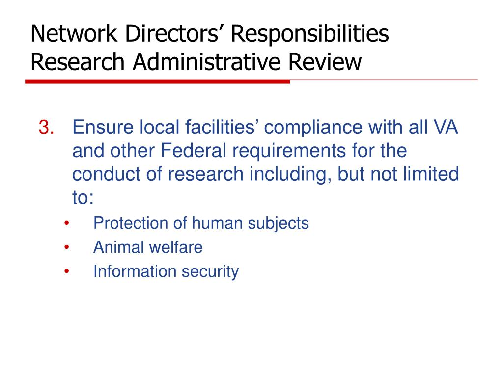 Network Directors' Responsibilities Research Administrative Review