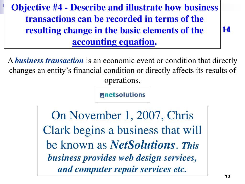 Objective #4 - Describe and illustrate how business transactions can be recorded in terms of the resulting change in the basic elements of the