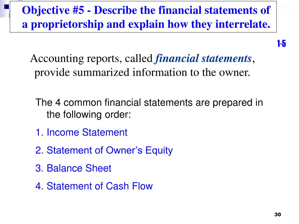 Objective #5 - Describe the financial statements of a proprietorship and explain how they interrelate.