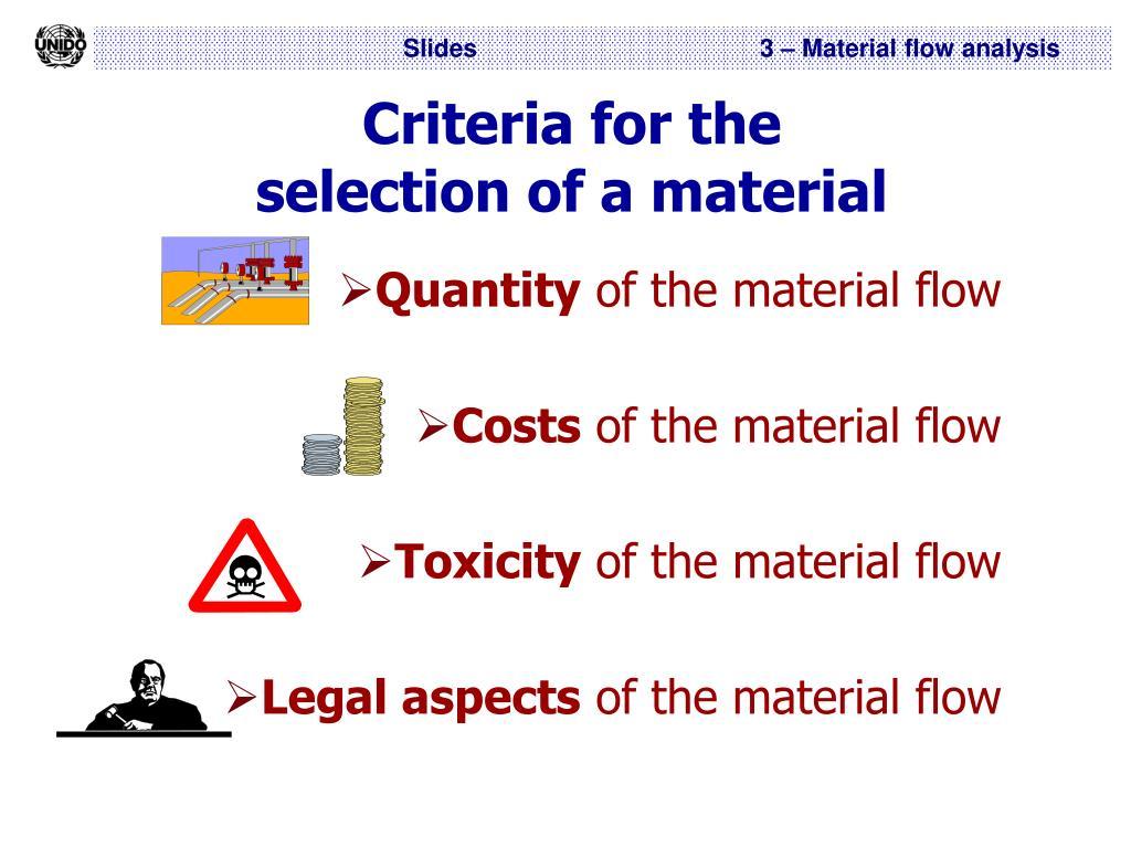 Criteria for the
