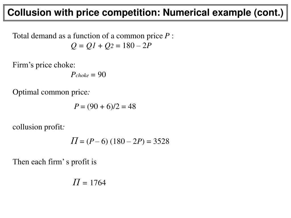 Collusion with price competition: Numerical example (cont.)