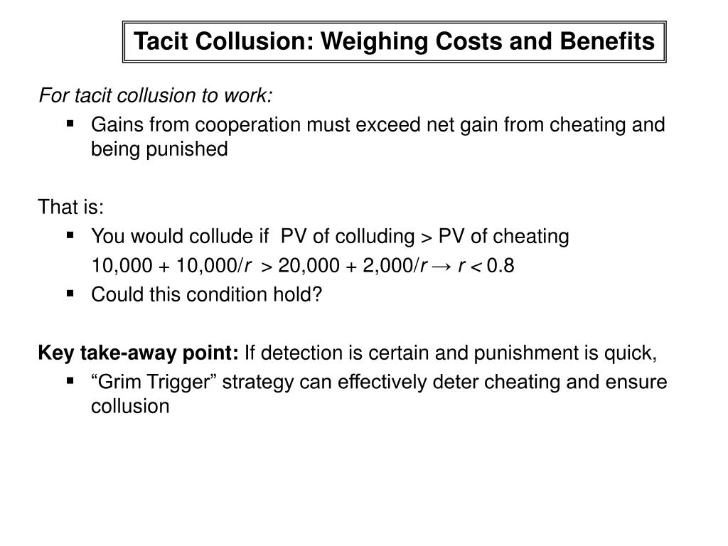 Tacit Collusion: Weighing Costs and Benefits