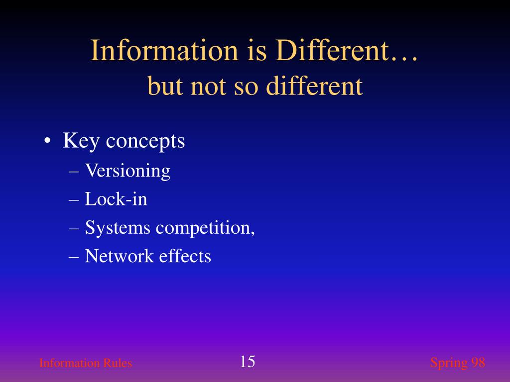 Information is Different…