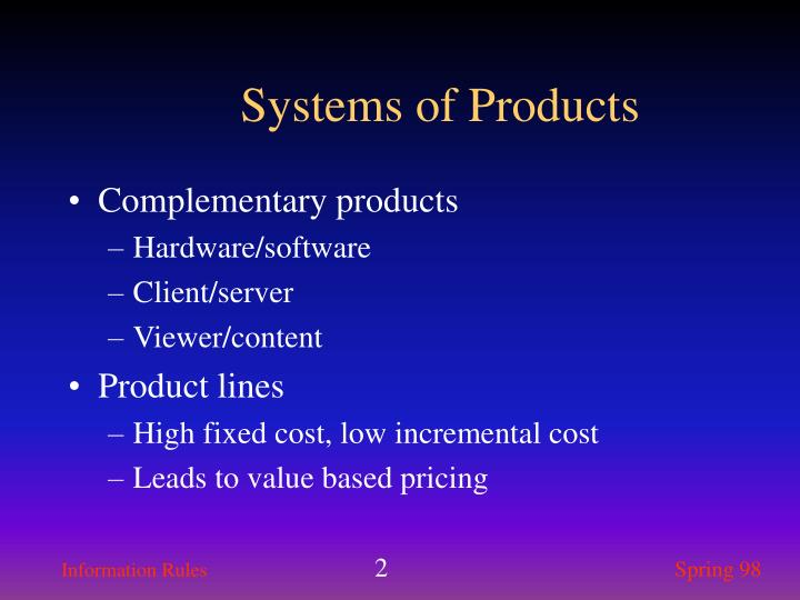 Systems of products