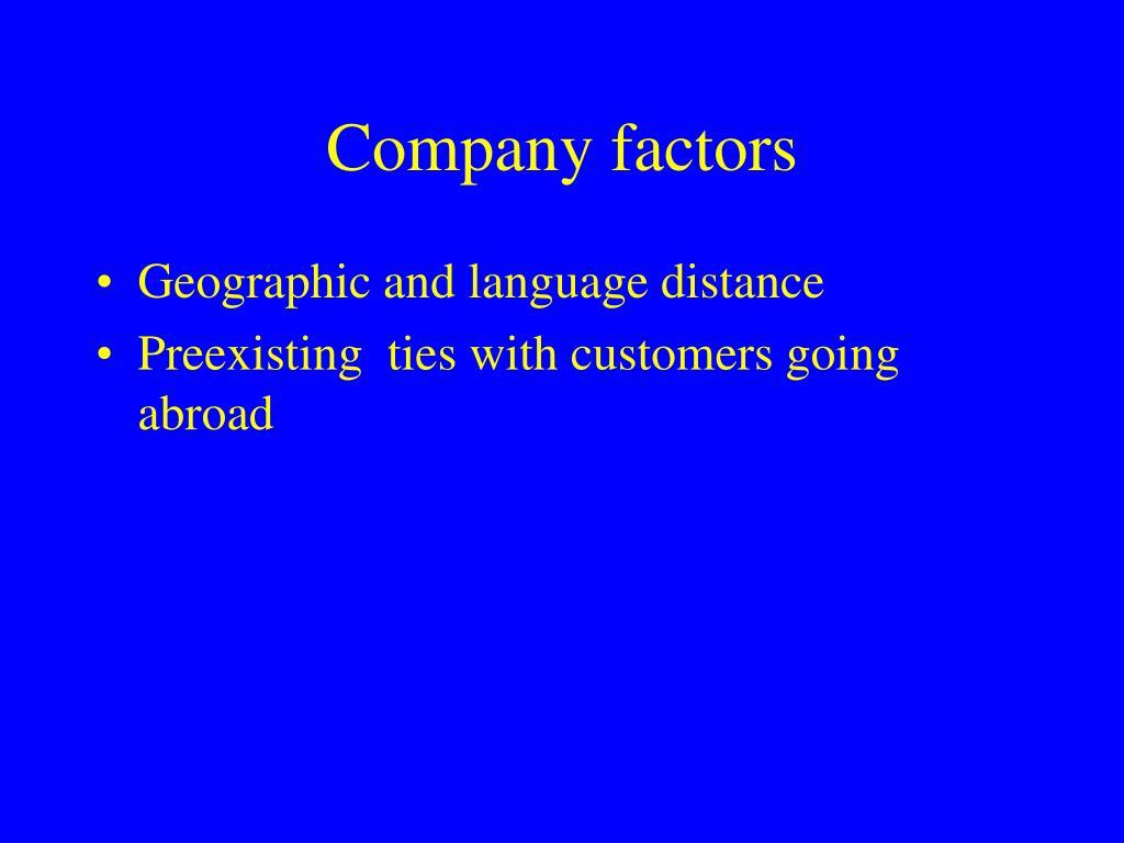 Company factors
