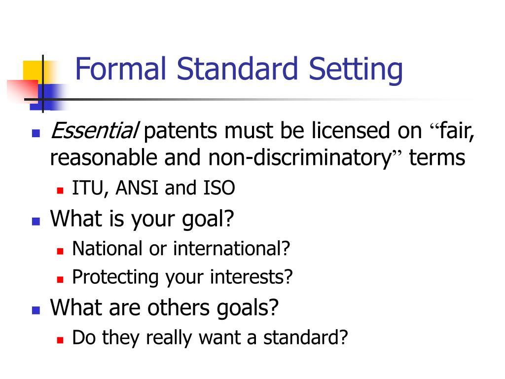 Formal Standard Setting