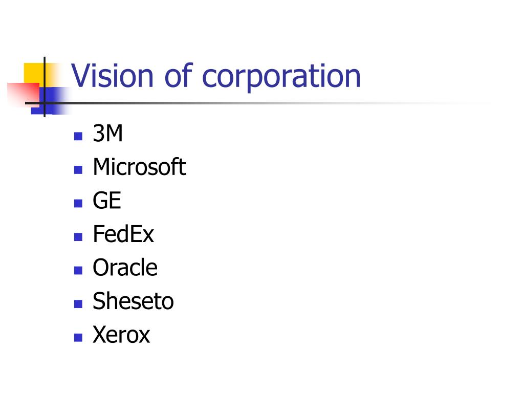 Vision of corporation