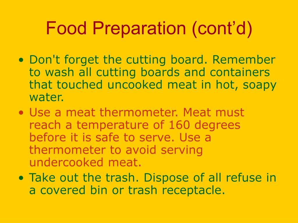 Food Preparation (cont'd)