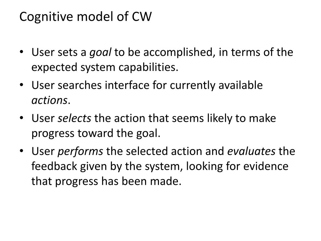 Cognitive model of CW
