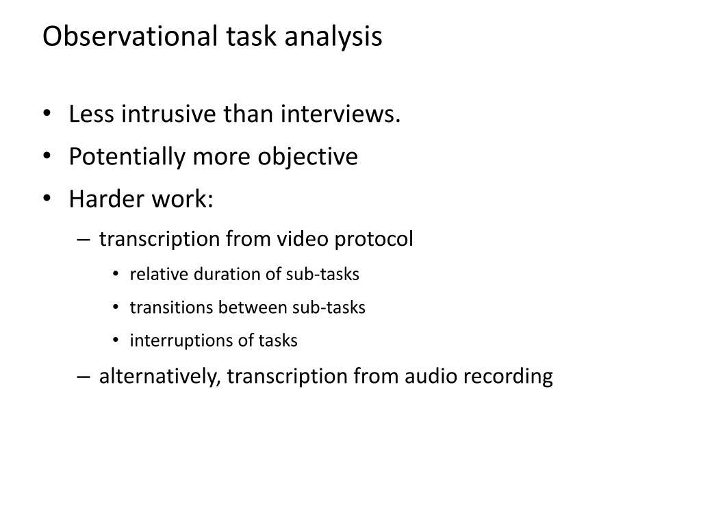 Observational task analysis