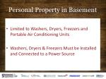 personal property in basement
