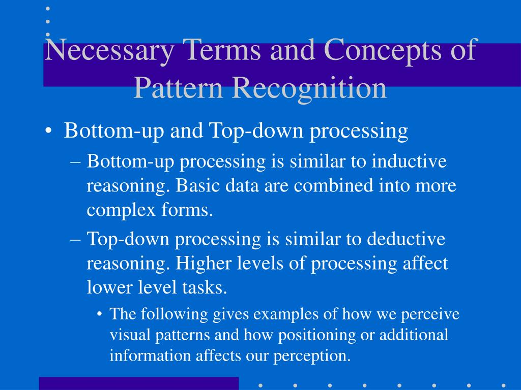 Necessary Terms and Concepts of Pattern Recognition