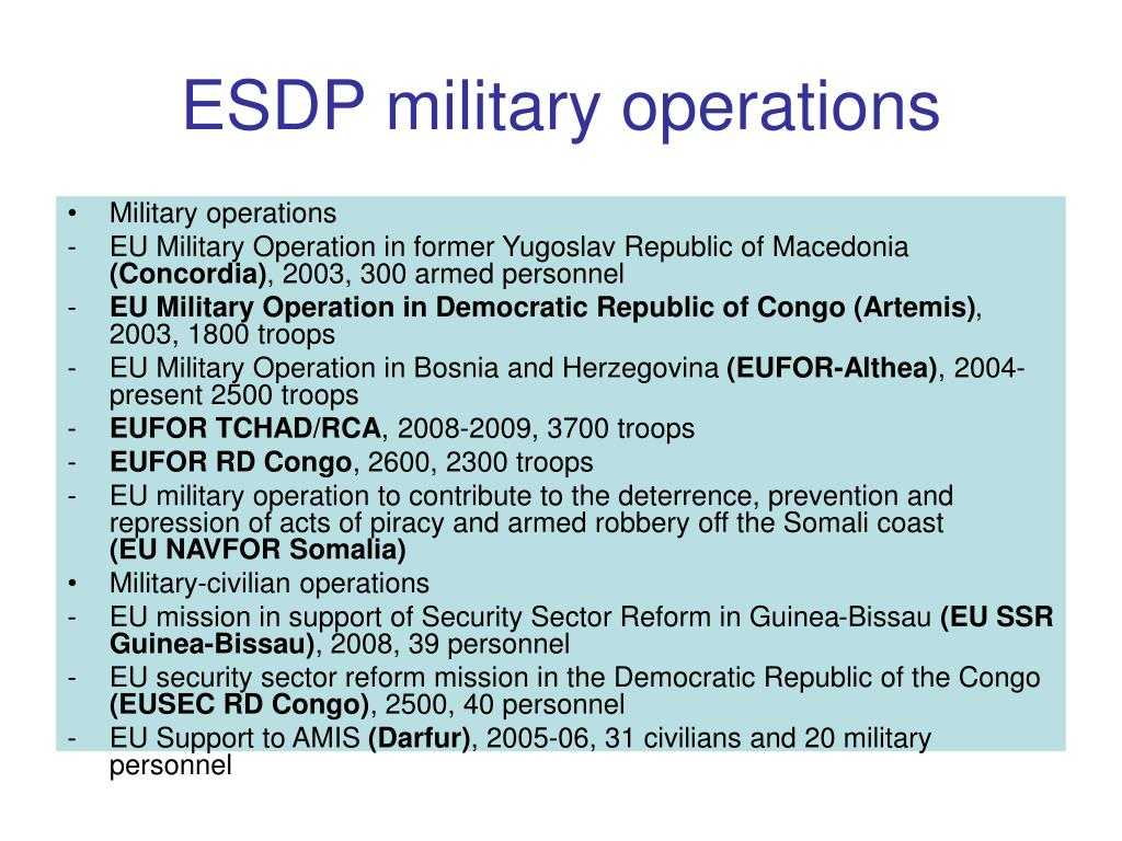 ESDP military operations