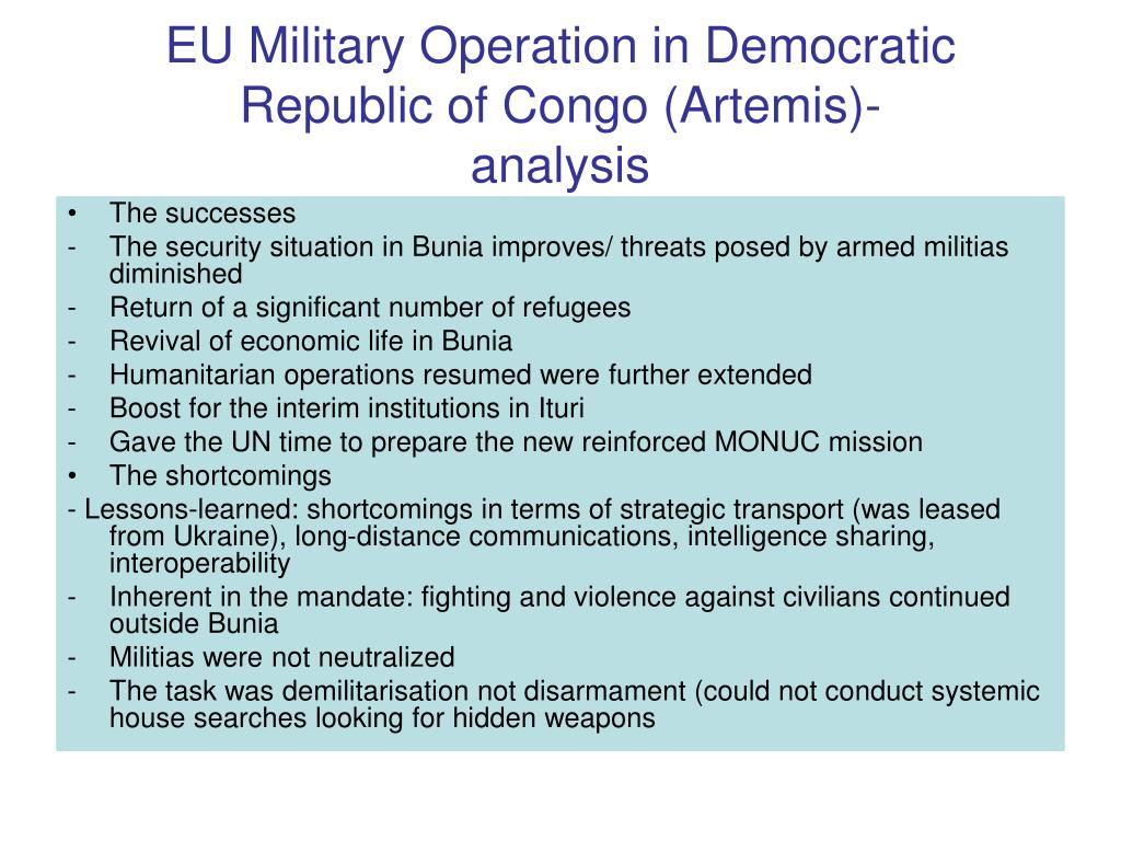 EU Military Operation in Democratic Republic of Congo (Artemis)-