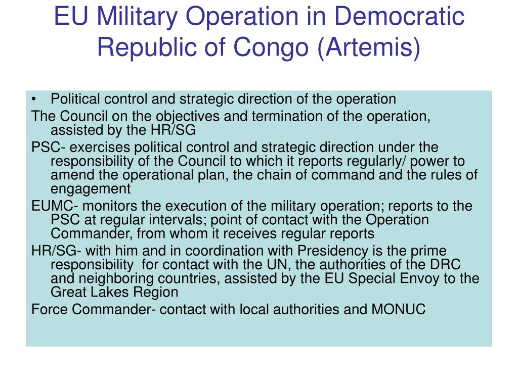 EU Military Operation in Democratic Republic of Congo (Artemis)
